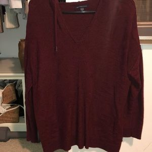 American Eagle Hooded V-Neck Sweater